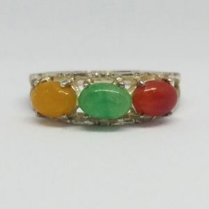Avon Tri Color Jade Ring Sterling Silver